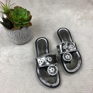 A. Giannetti Sandals Italian silver embellished
